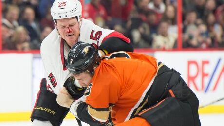 Hockey fighting Ottawa Anaheim