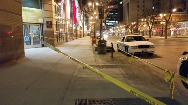 Winnipeg police are investigating an assault outside Portage Place on Tuesday.
