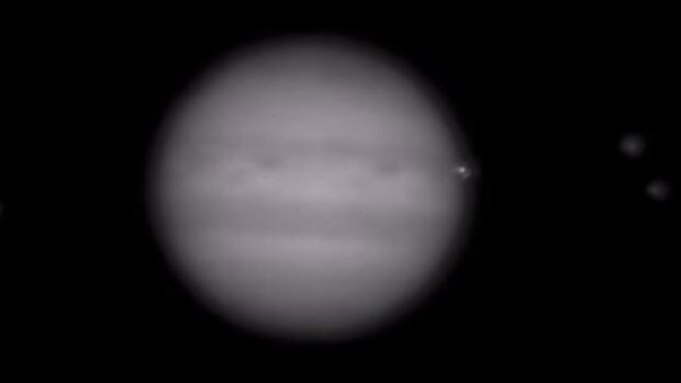 A bright spot appears in the second-last frame of the timelapse posted by Irish amateur astronomer John Mckeon.