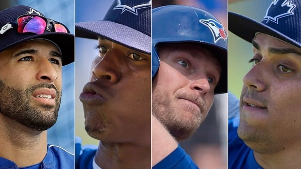 From left, outfielder Jose Bautista, starting pitcher Marcus Stroman, outfielder Michael Saunders and closer Roberto Osuna will be counted on in the Blue Jays' attempt to return to the post-season for a second consecutive year in 2016. Bautista could be headed to free agency, Stroman is now the team's ace hurler, Saunders is looking to stay on the field after an injury marred 2015 campaign and Osuna will resume closer duties to start the season.