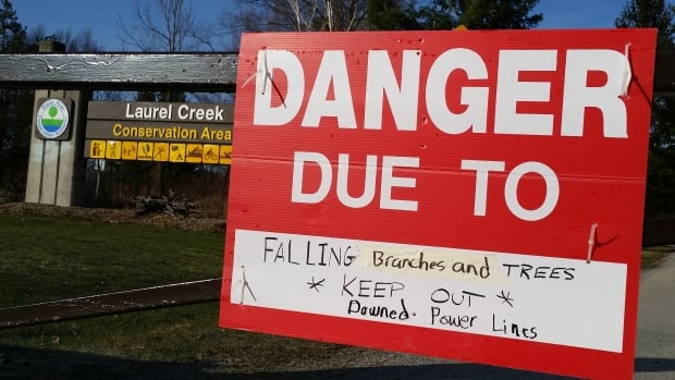 Signs were posted at Laurel Creek Conservation Area, warning hikers and outdoor enthusiasts to keep out.