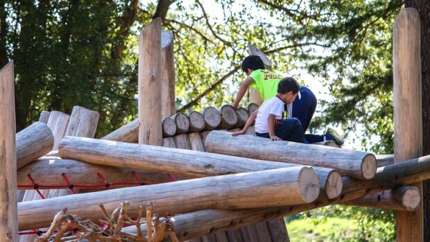 The Terra Nova Adventure Play Environment in Richmond, B.C., encourages outdoor play with 'riskier' elements such as ziplines and a rope walkway.