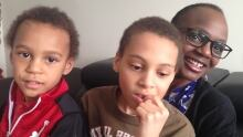 Sazini Nzula with sons Jayden and Ethan Koorengevel