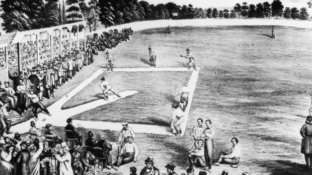 Drawing of people playing baseball from the 1800s