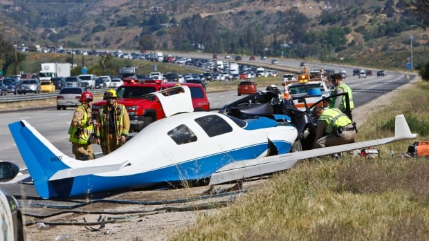The plane ended up on the side of the highway in Fallbrook, Calif., where it struck a car, killing a 38-year-old San Diego woman who was inside the vehicle.
