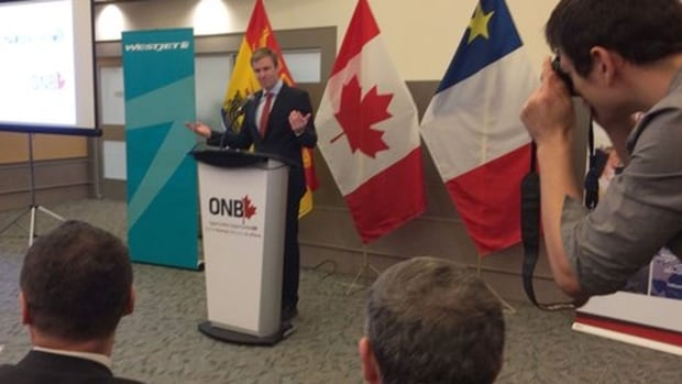 Premier Brian Gallant made the WestJet job announcement on Monday at the Greater Moncton International Airport.