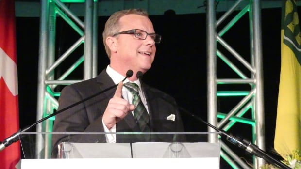 Brad Wall triumphant on election night in Swift Current, Sask. on April 4, 2016