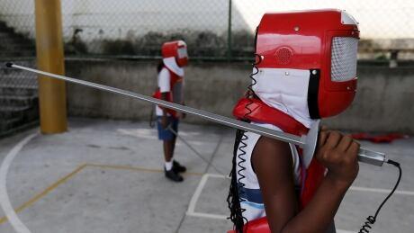 Rio BRAZIL-FENCING SCHOOL students practice March 2016