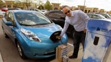 Sean Hart filling up his Nissan Leaf