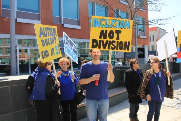 Dad Nick at Kitchener autism rally in support of his daughter