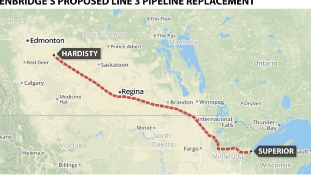 Enbridge is proposing to replace its Line 3 pipeline from Hardisty, Alta., to Superior, Wis. If approved, it will approximately double the amount of oil shipped daily.