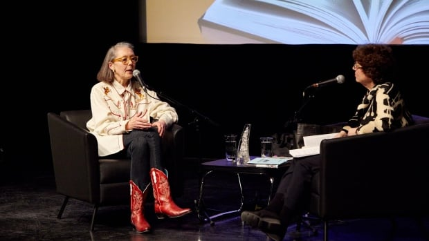Anne Carson and Eleanor Wachtel on stage at Blue Met