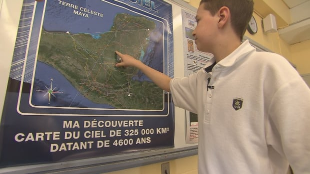 William Gadoury points to the location of the lost Mayan city that he believes he's discovered.
