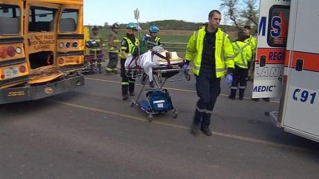 7 children sent to hospital after school bus, truck collide in Halton