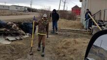 Youth clean-up litter in Attawapiskat