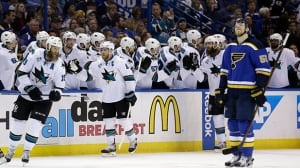 Sharks top Blues to take lead in West final