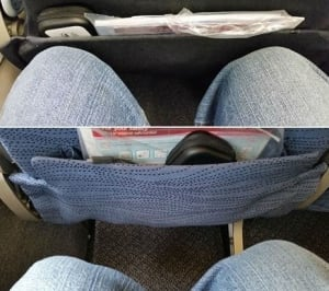 Knee space on commercial flights