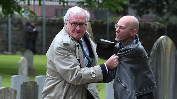 Ambassador Kevin Vickers, former House sergeant-at-arms, tackles protester in Dublin