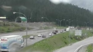 Traffic stalled along Highway 5 between Hope and Merritt