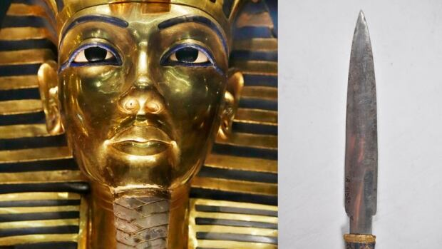 The gold mask of King Tutankhamun is seen alongside a dagger found in the wrapping of his mummy in a composite image. The dagger is now confirmed to be made of iron from a meteorite.