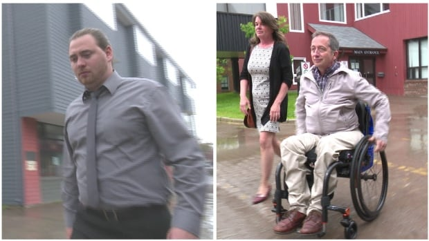 Accused Jordan Arsenault-Loeman and cyclist Alan Stanley attended provincial court in Charlottetown Tuesday.