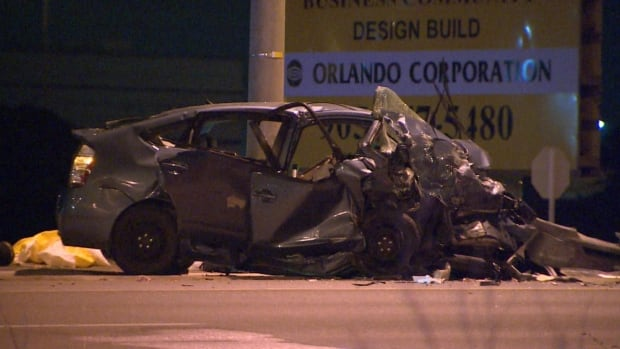 A four-vehicle collision sent two people to hospital overnight in Brampton.