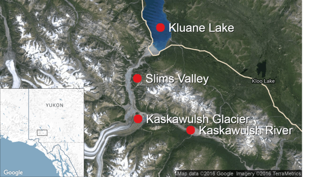 Kaskawulsh glacier map