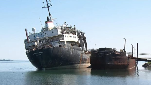 The Kathryn Spirit, a cargo ship sitting abandoned in Lac Saint-Louis on Montreal's South Shore, is listing heavily to one side.