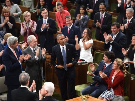 U.S. President Barack Obama spoke in the House of Commons after the so-called Three Amigos meeting with Prime Minister Justin Trudeau and Mexican President Pena Nieto in Ottawa on Wednesday.