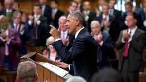 Obama defends progressive values in speech to Parliament