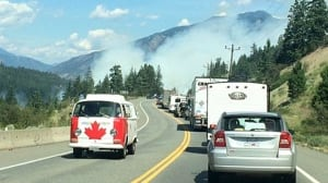 Forest fire reduces Highway 1 traffic to single lane from Hope to Cache Creek