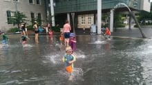 Guelph splash pad at city hall July 2016