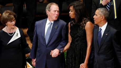 The music 'moved him': George W. Bush's bopping during Dallas memorial explained