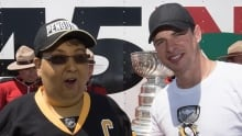 Robin Drodge hangs out with Sidney Crosby and the Cup.