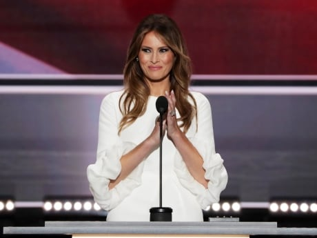 Allegations of plagiarism arose after a few lines in Melania Trump's speech Sunday matched almost word for word a speech given by Michelle Obama in 2008. The Trump campaign dismissed the criticism as 'absurd.'