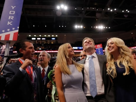 Trump's children, from left, Donald Trump Jr., Ivanka Trump, Eric Trump and Tiffany Trump, celebrate after votes of the New York delegation were announced, putting their father over the top to win the nomination.