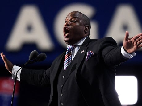 Pastor Mark Burns, Co-Founder & CEO of The NOW Television Network, encouraged delegates on the fourth day of the Republican National Convention to shout