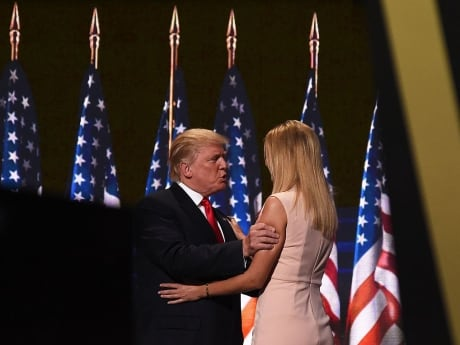 Republican presidential candidate Donald Trump embraces his daughter Ivanka before addressing delegates on the final night of the Republican National Convention in Cleveland, Ohio.