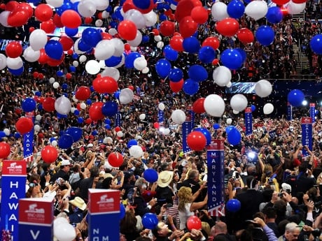 Balloons fall over the crowd after Republican presidential candidate Donald Trump delivered his speech on the fourth day of the Republican National Convention on July 21, 2016.