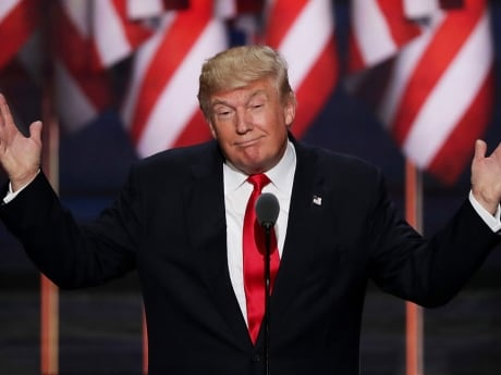 Republican presidential candidate Donald Trump delivers a speech during the evening session on the fourth day of the 2016 Republican National Convention in Cleveland, Ohio.