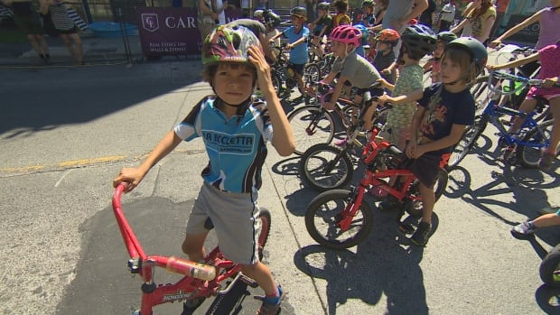 Some determined young cyclists look ready to take on the Ossington Criterium bike race on Saturday.