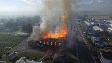 St. Isidore church on fire