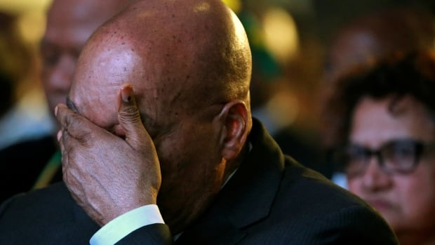 South Africa's President Jacob Zuma reacts during the official announcement of the munincipal election results in Pretoria on Aug. 6, 2016.