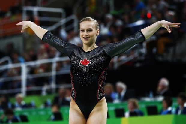 Canada's Ellie Black of Canada reacts after competing on the balance beam during the women's individual all-around final on Day 6 of the 2016 Rio Olympics. (Elsa/Getty Images)