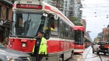 Streetcars backed up