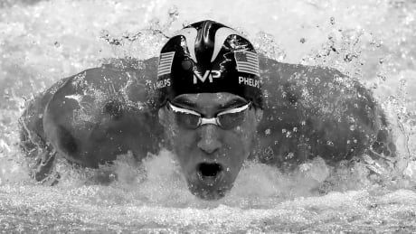 Olympics black and white Phelps