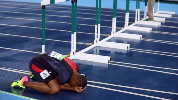 Wilhem Belocian is devastated by his false start disqualification.