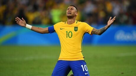Neymar Brazil gold soccer