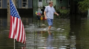 Louisiana flood water American flag