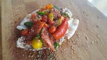 d is for dinner field tomatoes zataar moutabal wilf adas